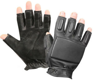 Black-Leather-Tactical-Finger-Less-Foam-Padded-Rappelling-Gloves