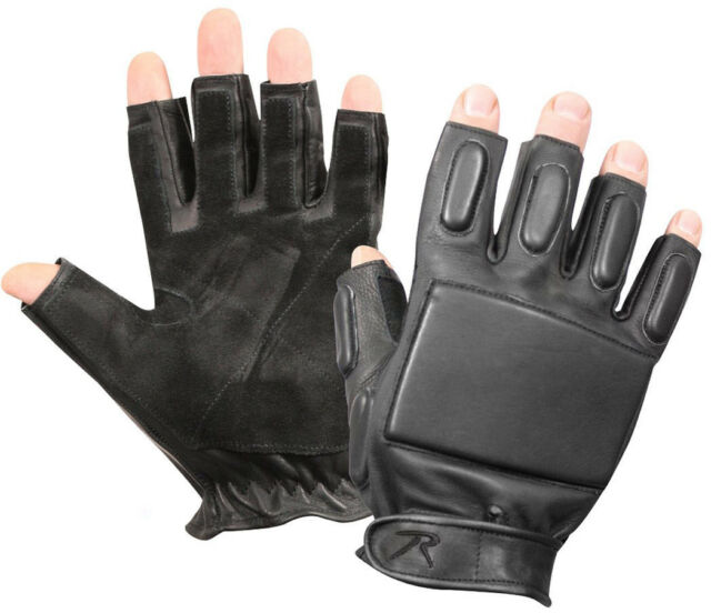 Black Leather Tactical Finger Less Foam Padded Rappelling Gloves