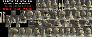 42 PCS 3D STL Models PARTS OF STAIRS for CNC Router 4 AXLE Mill Engraver Carving