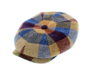 9d841723a12 Image is loading Stetson-100-Lambswool-Check-Pattern-Hatteras-Bakerboy-Cap