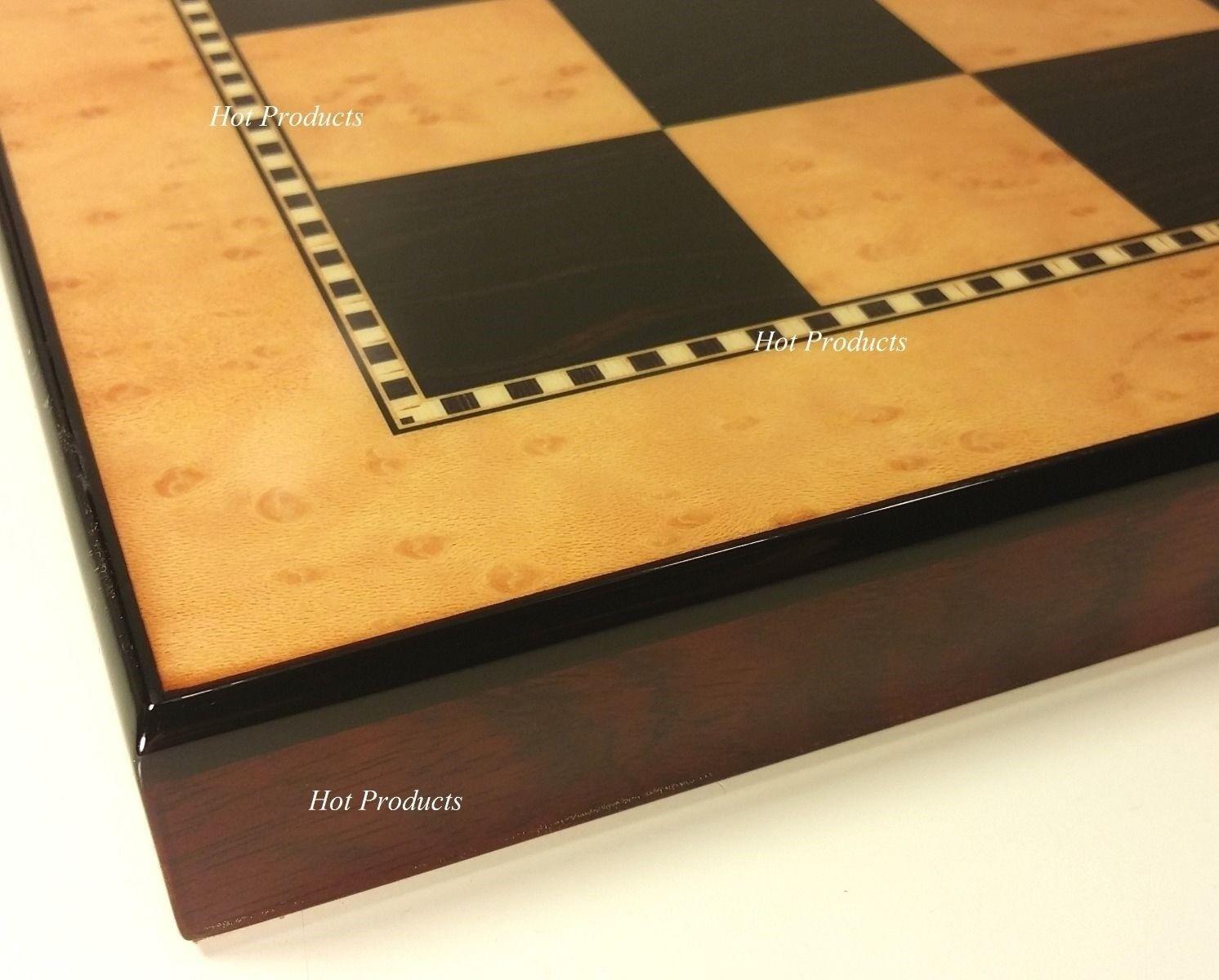15  HIGH GLOSS WALNUT   BIRDSEYE MAPLE Coloree Chess Board
