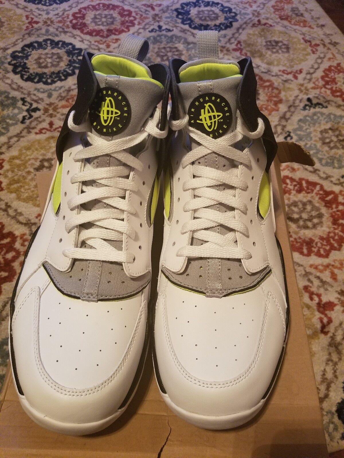 Nike Air Huarache Basketball Edition 488054-100 White/Black Volt Size 12