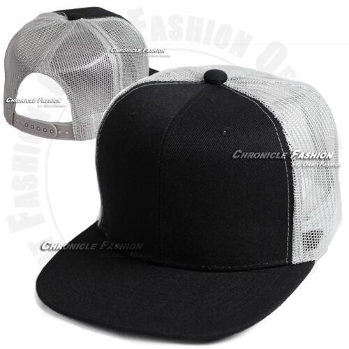 Trucker Hat Mesh Baseball Cap Snapback Adjustable Flat Visor Solid Hip Hop Mens