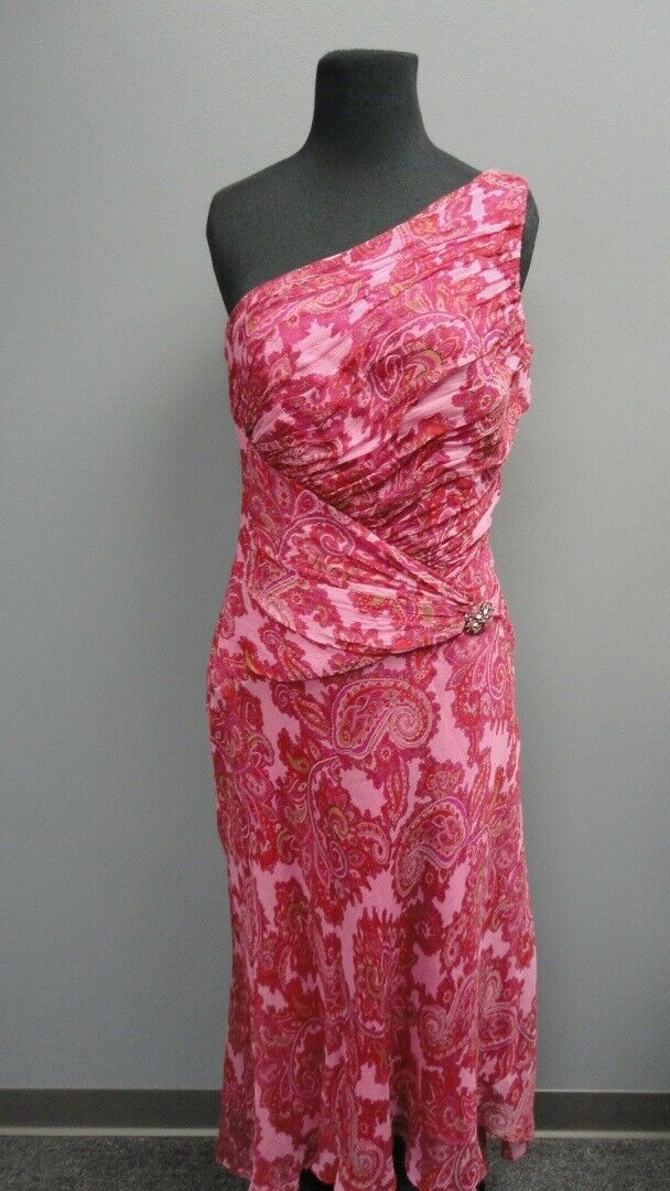 LAUNDRY BY SHELLI SEGAL Pink Floral Sleeveless One Shoulder Dress Sz 8 GG1337