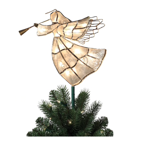 Christmas Tree Topper 10 White Trumpet Playing Angel 16 Light Capiz Shelled Nib