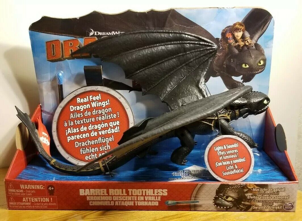 DreamWorks Dragons Barrel Roll Toothless w  Real Feel Wings & Lights + Sounds