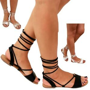 WOMENS STRAPPY LACE LEG FLAT BLACK