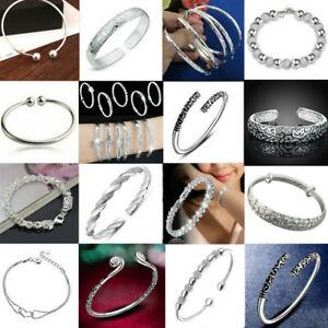 Women-925-Silver-Flower-Cuff-Bangle-Wristband-Bracelet-Wedding-Jewelry-Gift-TR