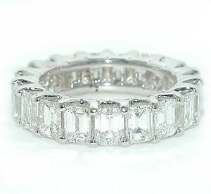 7-CT-BRILLIANT-Emerald-Cut-DIAMOND-ETERNITY-Wedding-Band-18K-White-Gold