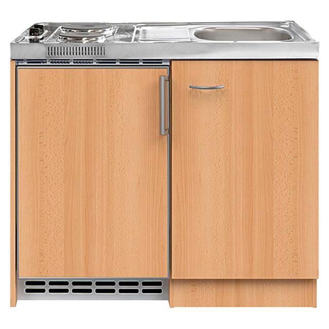 Miniküche 100 cm Edelstahlkochfeld Kühlschrank Kochmulde Kochplatte  Küchenblock