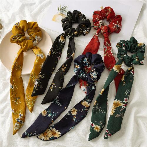 Boho Floral Printed Elastic Hair Bands Bow Hair Rope Long Tassel Hairbands 6518