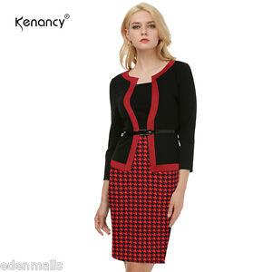 kenancy Oficina Vestidos moderno color Puntadas manga tres cuartos ...
