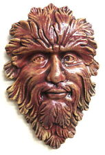 """Green Forest Man Wall Plaque 14"""" Red Terracotta Mythical Wall decor"""