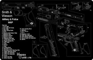 Smith-Wesson-M-amp-P-Armorers-Gun-Cleaning-Bench-Mat-Exploded-View-Schematic-New