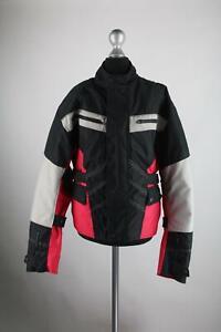 Grau-rot-schwarze-Textil-Motorradjacke-Groesse-S-Top-Zustand