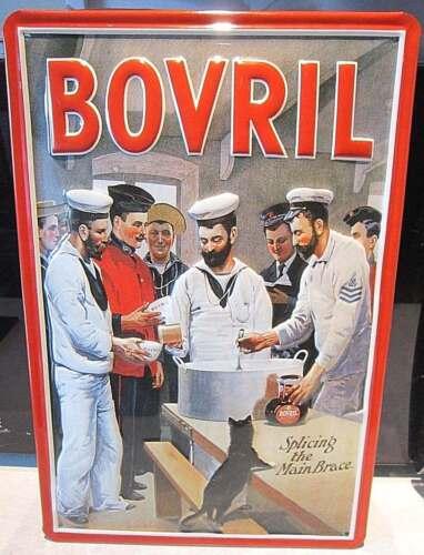 BOVRIL// ROYAL NAVY SAILORS EMBOSSED METAL ADVERTISING SIGN 30X20cm 3D