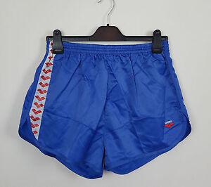 VTG-blau-glaenzend-Athletic-Sport-Sprinter-Shorts-Ibiza-High-Cut-Retro-VGC-UK-L-XL