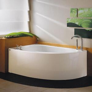 Neptune Wind 60x36 Contemporary Corner Bath Tub Soaker No
