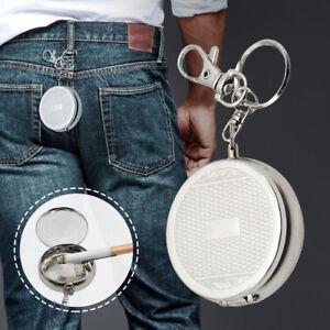 Mini-Round-Metal-Key-Ring-Pocket-Portable-Ashtray-Cigarette-Cat-B-Travel-Clip