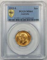 1915-S Australia Gold Sovereign Coin PCGS MS-64