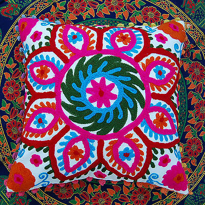 """Vintage Suzani Cushion Cover Indian Woolen Embroidered Handmade Pillow Cases 16"""""""