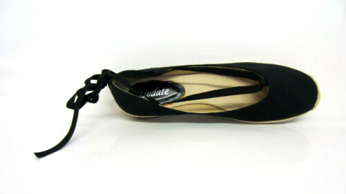 R9A Jen UPDATE L4R751 Ladies Black Flat Ankle Tie Shoes