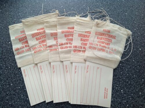 6 Vintage IH International Harvester Co. Cloth & Paper Parts Bags Tractor Truck