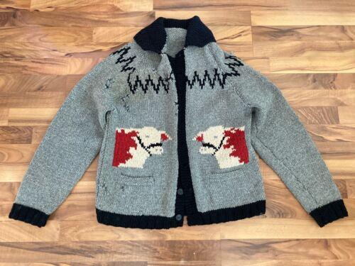 Knit Bull Sweater Mens Gray Wool Western Cowboy Vi