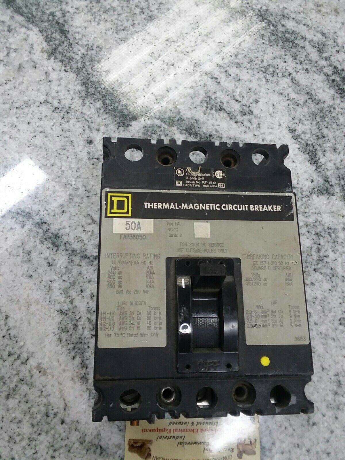 Square D FAP 3 pole 50 amp 600v FAP36050 Circuit Breaker BLACK FRAME