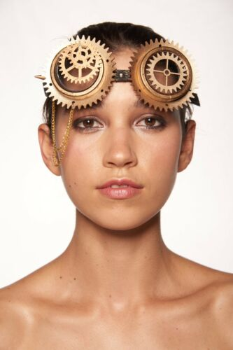 Gold Steam Punk Victorian Mechanic Goggles Cosplay Costume Gothic Rock Accessory