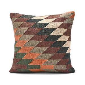 2 Pcs Indian Hand Woven Kilim Cushion Cover Jute Pillow Case Rug Cushion 1023