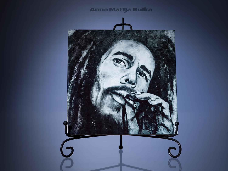 Resin Art Tiles Ceramic Mural Gloss Wall portrait Home decor Gift Hendrix Marley