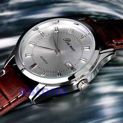 Fashion Casual Quartz Electronic Stainless Steel Leather Men's Wrist Watch