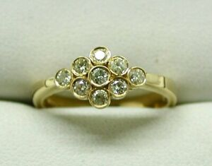 Beautiful-18-carat-Gold-And-Canary-Lemon-Coloured-Diamond-Cluster-Ring-Size-N