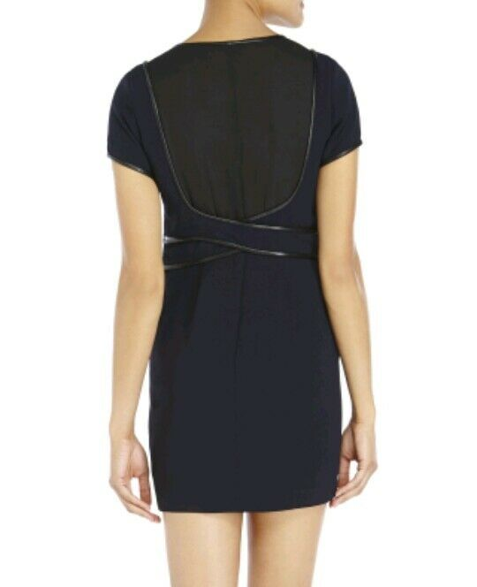 96306870ce5 The Kooples Leather Trim Crepe Two-toned Dress Navy / Black Size UK ...