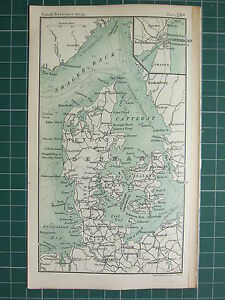 1904 SMALL MAP DENMARK JUTLAN ZEALAND COPENHAGEN PLAN HOLSTEIN