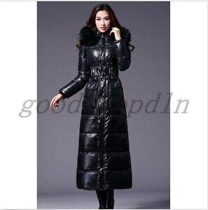 e10d757e7a Details about Winter Women's Fashion Long Duck Down Coat Fur Hooded Lady  Black Parka Jacket SZ