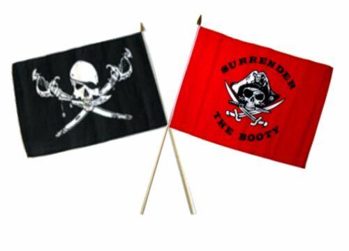 "12x18 12/""x18/"" Wholesale Combo Pirate Brethren Coast /& Red Surrender Stick Flag"