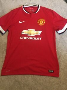 newest 5328a fe383 Details about Nike Dri-Fit MANCHESTER UNITED Authentic Jersey Mens Large  Red HOME Chevrolet