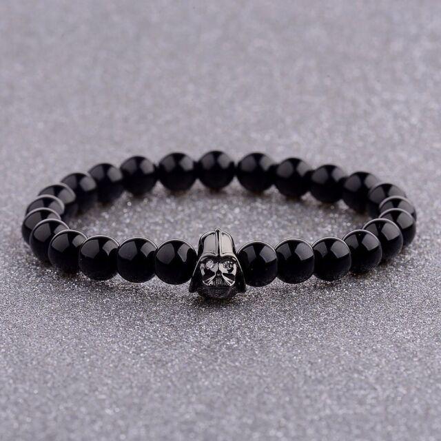 Fashion Men's Star Wars Darth Vader Bracelet 8mm Black Agate Stone Bracelets