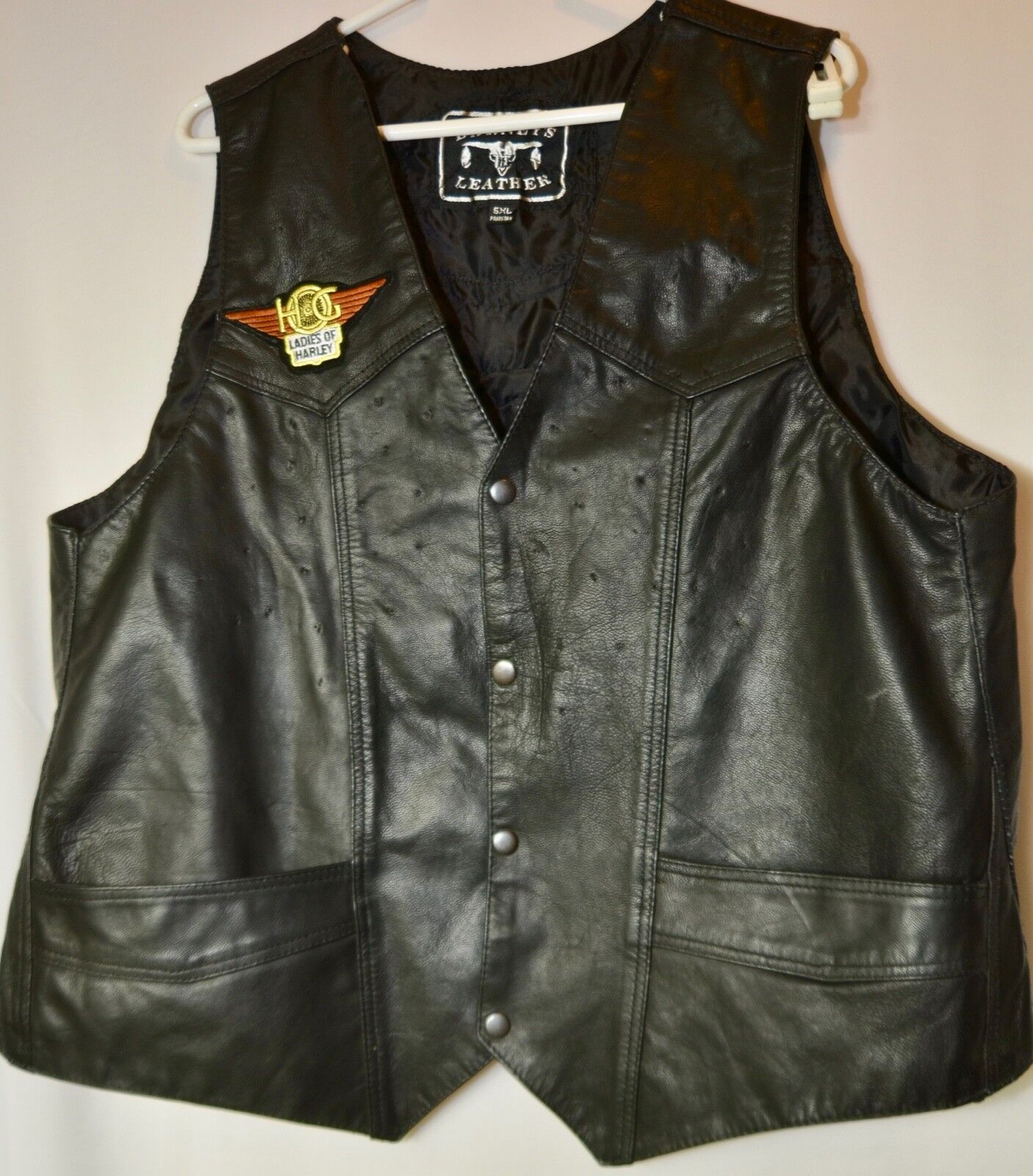 Barneys Leather Motorcycle vest leather Women 5XL.