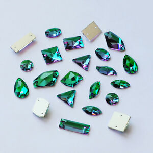 1bc1f51f2e Details about Quality Strass Sew on Rhinestones Flat Back Glass Crystals  for Clothes Emerald