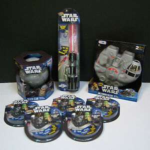 Mighty-Beanz-Star-Wars-Death-Star-Millennium-Falcon-Case-Light-Saber-5-4-Packs