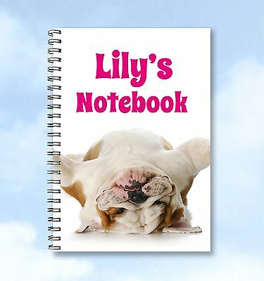 Personalised A6 Notebook Bulldog any Name and text