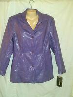 Fu Da York Faux Leather Jacket Light Purple Size Med