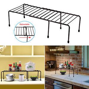 Details About Expandable Kitchen Counter Cabinet Shelf Organizer Rack Storage Countertop Bowls