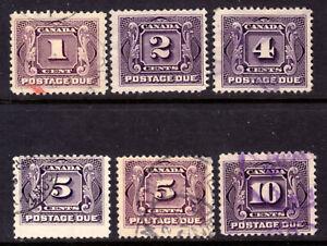 CANADA-POSTAGE-DUE-J1c-2-3-4-4c-5-1906-28-SET-6-VG-F-USED