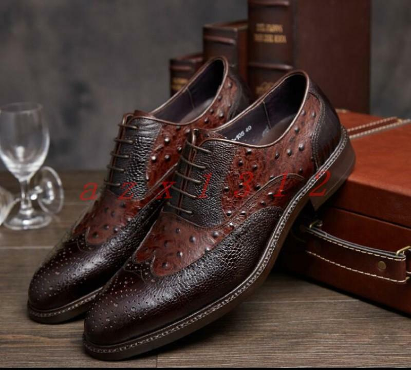 Uomo Pelle Brogue Lace up Wing Tip Shoes Business Wedding VINTAGE Dress Formal
