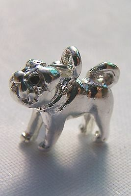 DOG Pug Puppy Clip On Charm  Sterling Silver plated fit Bracelet