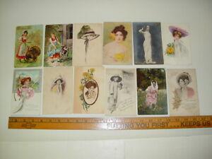 Antique-Lot-12-Postcards-Pretty-Ladies